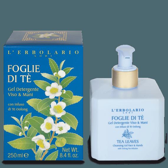 erbolario foglie di te gel detergente viso e mani